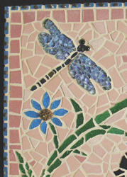 detail of house number in mosaic work