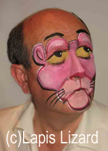 pink panther design on adult face