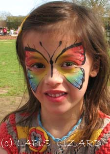 rainbow butterfly face painting in Didcot