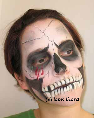 face painted as a skull